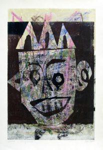 Königsmaske | 1995 | 73 x 50 cm | Monotypie auf Buetten