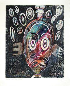 a.d.F. Masken | 1997 | 80 x 50 cm | Oelkreide | Monotypie auf Buetten