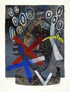a.d.F. Masken II | 1997 | 80 x 50 cm | Ölkreide | Monotypie auf Bütten