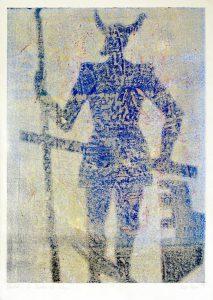 a.d.F. Waechter | Der Schatten des Kriegers | 1999 | 80 x 50 cm | Monotypie auf Bütten