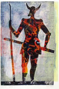 a.d.F. Waechter I | Der Schatten des Kriegers | 1999 | 80 x 50 cm | Monotypie auf Bütten