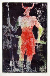 a.d.F. Waechter II | Der Schatten des Kriegers | 1999 | 80 x 50 cm | Monotypie auf Bütten