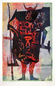 a.d.F. Waechter IV | Der Schatten des Kriegers | 1999 | 80 x 50 cm | Monotypie auf Bütten