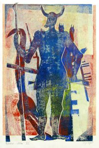 a.d.F. Waechter VII | Der Schatten des Kriegers | 1999 | 80 x 50 cm | Monotypie auf Bütten
