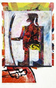 a.d.F. Waechter | Der Schatten des Kriegers | 1999 | 80 x 50 cm | Oelkreide | Monotypie auf Bütten