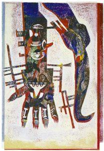 Magischer Handschuh I | 2000 | 80 x 50 cm | Oelkreide | Monotypie auf Bütten