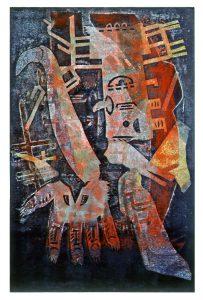 Magischer Handschuh II | 2000 | 80 x 50 cm | Oelkreide | Monotypie auf Bütten