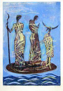 Die Schoepfung II | 2002 | 80 x 50 cm | Oelkreide | Monotypie auf Bütten