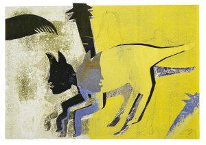 a.d.F. Die wundersame Kunst einer Katze | Der Schatten | 2002 | 50 x 80 cm | Blei, Collage | Monotypie auf Bütten