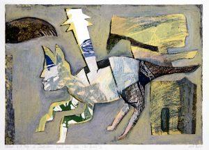 a.d.F. Die wundersame Kunst einer Katze | Das Versteck II | 2002 | 50 x 80 cm | Oelkreide | Monotypie auf Bütten