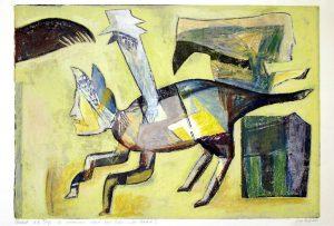 a.d.F. Die wundersame Kunst einer Katze | Das Versteck I | 2002 | 80 x 50 cm | Oelkreide | Monotypie auf Bütten
