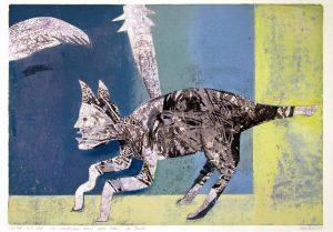 a.d.F. Die wundersame Kunst einer Katze | Das Fenster | 2002 | 80 x 50 cm | Oelkreide | Monotypie auf Bütten