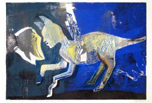 a.d.F. Die wundersame Kunst einer Katze | Der Traum | 2002 | 80 x 50 cm | Oelkreide | Monotypie auf Bütten