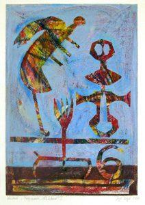 Fragmente | schwebend | 2008 | 80 x 50 cm | Oelkreide | Monotypie auf Bütten